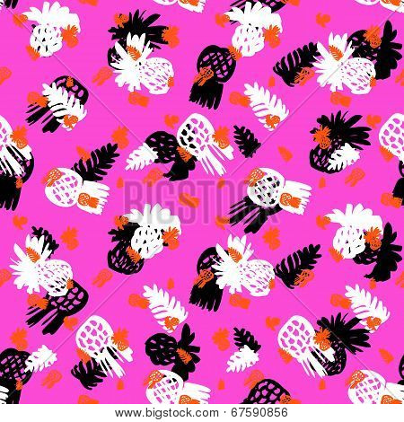 Tropical grunge pattern with fruits and leafs