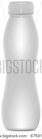 White plastic bottle template for yogurt, juice or milk