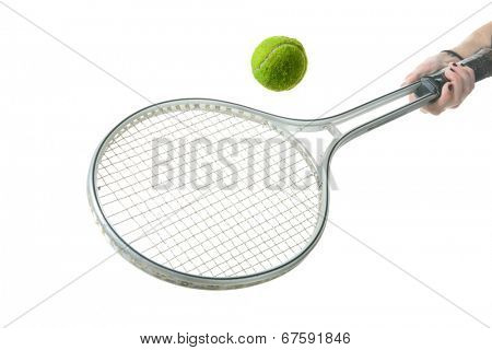A genuine Tennis Racket with a Yellow Tennis Ball.  Isolated on white with room for your text.