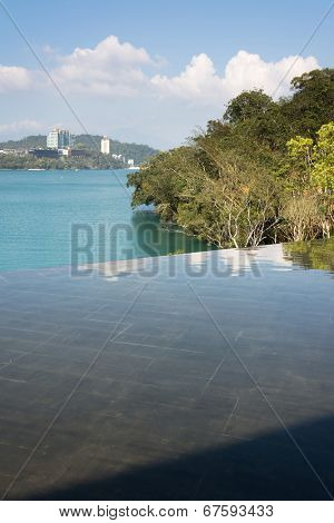 Landscape of Sun Moon Lake scenery with reflection in Taiwan, Asia.