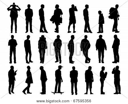 Big Set Of Men Standing Silhouettes 2