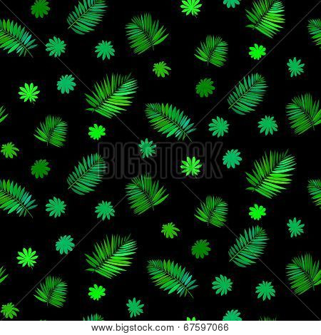 Pattern with leafs inspired by tropical nature