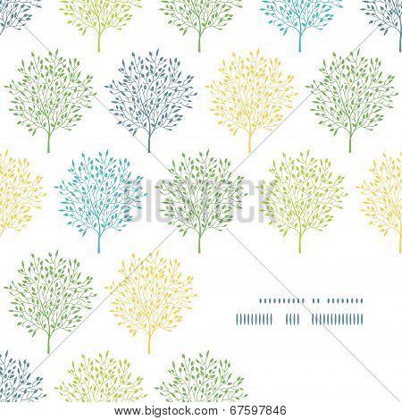 Summer trees colorful frame corner pattern background