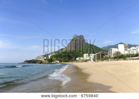Rio de Janeiro, Leblon Beach With Pedra Da Gavea