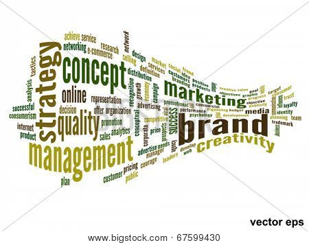 Vector eps concept or conceptual 3D abstract business success word cloud or wordcloud isolated on white background
