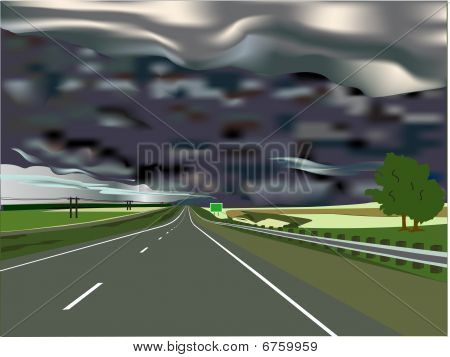 Storm On The Horizon With Interstate Highway