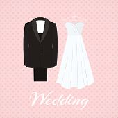picture of traditional attire  - Suit beside wedding dress on pink background with little heart shapes - JPG