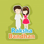 image of rakhi  - Beautiful greeting card design for the Raksha Bandhan festival with cute little girl tying rakhi on his brother wrist on green background - JPG