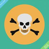 stock photo of skull cross bones  - Skull and bones warning sign  - JPG