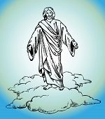 stock photo of divine mercy  - Figure Jesus Christ stands in clouds vector - JPG