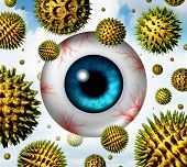 stock photo of rhinitis  - Hay fever and pollen allergy concept as a group of microscopic organic pollination particles flying in the air with an itchy and watery human eye ball with red veins as a health care symbol of seasonal allergies and irritation suffering - JPG