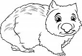 picture of wombat  - Black and White Cartoon Illustration of Cute Wombat Marsupial Animal for Coloring Book - JPG
