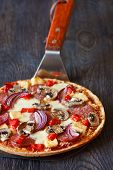 stock photo of hot fresh pizza  - Hot Italian pizza on pizza maker shove - JPG