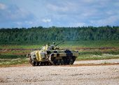 picture of amphibious  - Infantry combat vehicle on a boundary fire opening - JPG