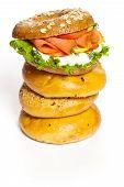 foto of bagel  - Stacked Bagels with Salmon Bagel Sandwich - JPG