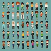 stock photo of teenagers  - Group cartoon people eps 10 vector format - JPG