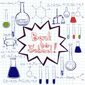 picture of chemical reaction  - Hand drawn back to school sketched elements on squared notebook paper - JPG