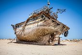 image of shipyard  - old and rusty desolate fishing ship in shipyard - JPG