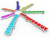 picture of self-employment  - Entrepreneur 3d words innovator - JPG