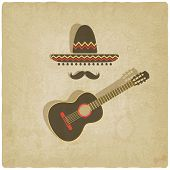 pic of mexican fiesta  - Mexican sombrero and guitar old background  - JPG