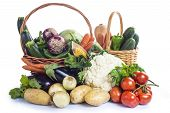 pic of escarole  - A basket with assortment of vegetables isolated on a white background - JPG