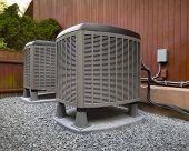 stock photo of air conditioner  - HVAC heating and air conditioning residential units