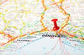 pic of genova  - Red push pin pointing at Genova - JPG