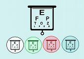 stock photo of snellen chart  - Eye icon and eye Chart Test Illustration - JPG