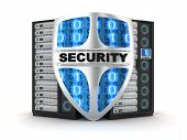 stock photo of intranet  - Server and shield security  - JPG