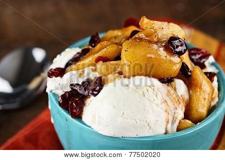 Vanilla Ice Cream With Apple Cranberry Sauce