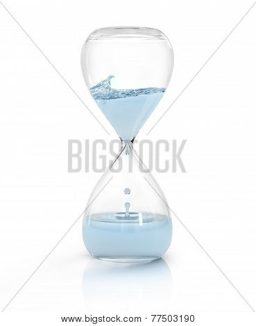 hourglass with dripping water close-up, time concept