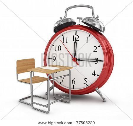 Alarm Clock With School Desk. School Time Concept.