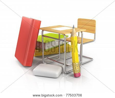 classroom chair desk with stationery objects