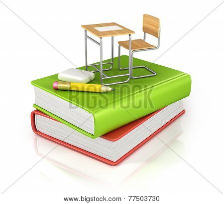 classroom chair desk with stationery objects on book