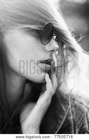 Sensual B&w Portrait Of Trendy Girl