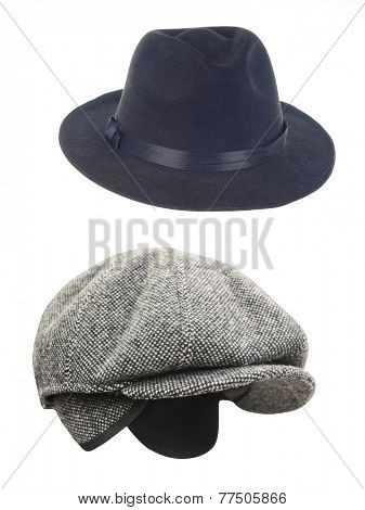 peaked cap and hat  under the white background
