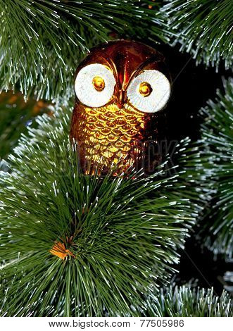 Christmas Tree Decorated With Toys Owl