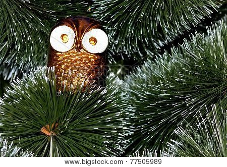 Decoration Owl On Christmas Tree