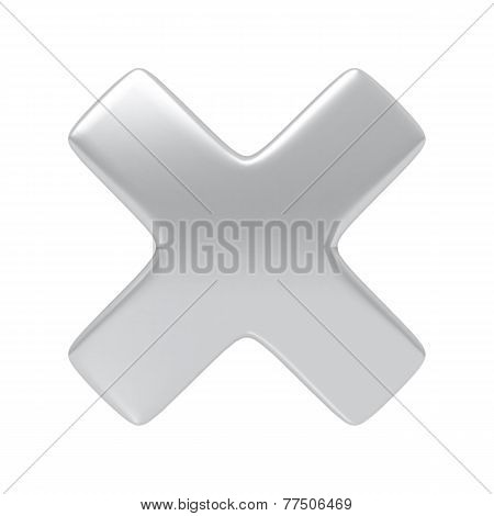 Silver cancel cross sign.