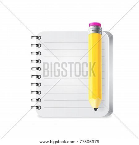 Notebook and pencil. Vector