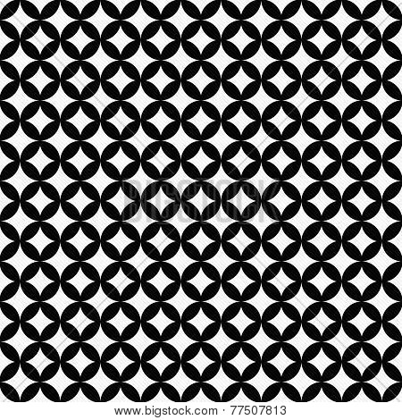 Black And White Interconnected Circles Tiles Pattern Repeat Background