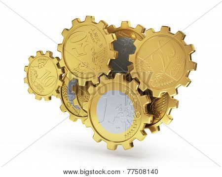 Euro Coins As Gear. Financial Concept. 3D