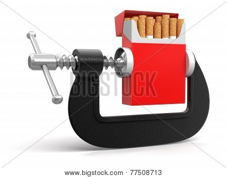 Cigarette in clamp (clipping path included)