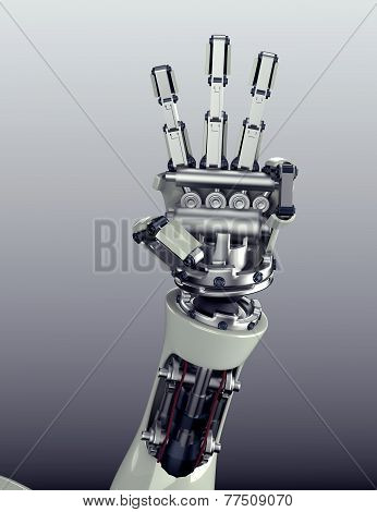 Futuristic Robot Arm With Hand Gesture