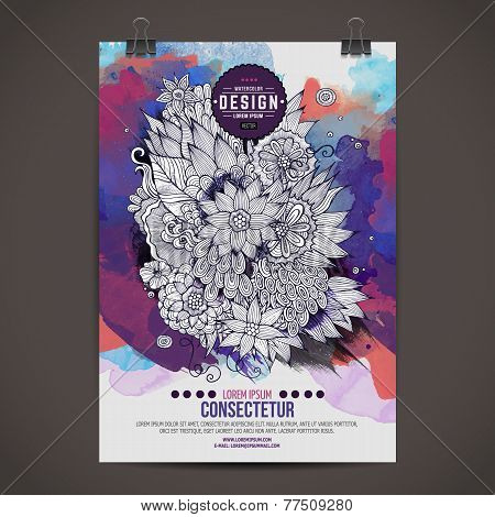 Vector template poster watercolor floral
