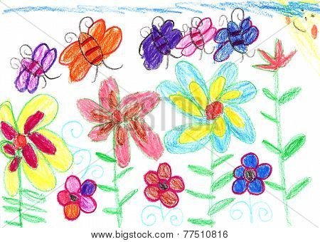 Child's Drawing Bees And Flowers Nature