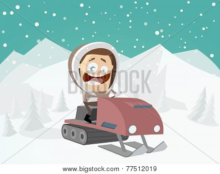 funny cartoon man with snowmobile and winter background