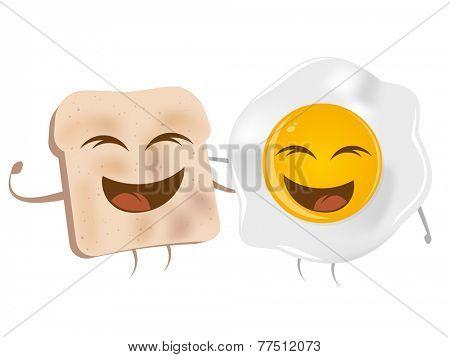 cartoon toast and fried egg