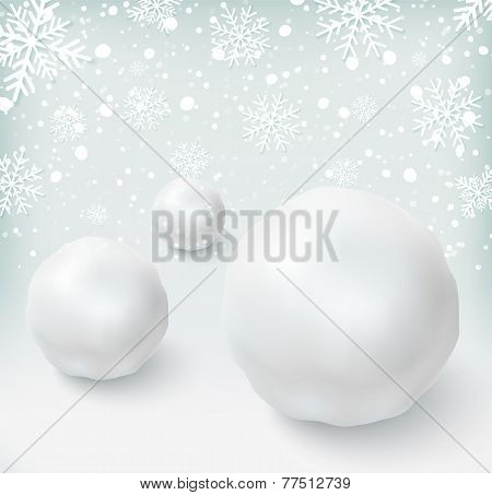 Background with snowballs and snow
