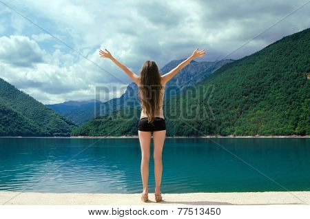 Free Happy Woman Enjoying Beauty World. Enjoyment Concept. The Piva Canyon. Montenegro, Balkans, Eur